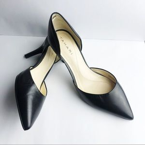 Tahari D'orsey CoCo black leather pumps